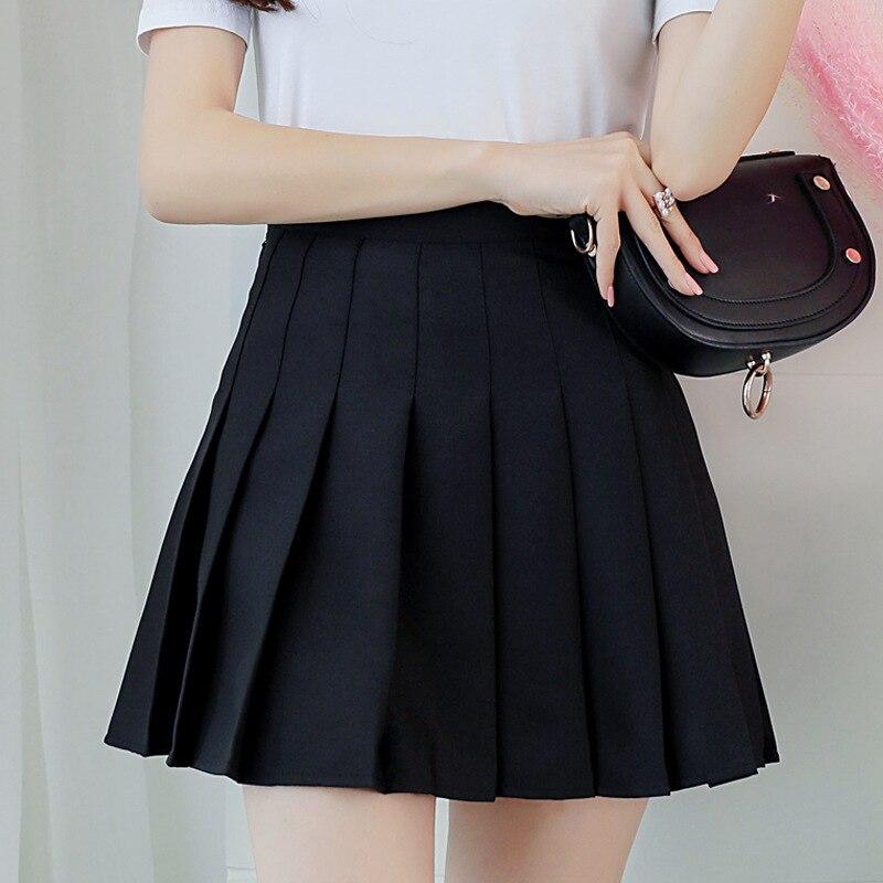 Kpop Ulzzang Black Pink Mini Skirt Women Summer 2019 Harajuku Kawaii Skirts Womens Korean Schoolgirl Streetwear Skirts