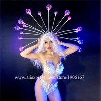 Для ночного клуба пикантные женские стразы бикини вечерние платье красочные светодиодный загорается Головные уборы этап одежда для предст