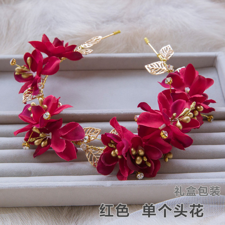 handmade red yarn gold alloy leaves elegant bridal hairbands wedding headpiece bridal hair jewelry