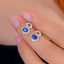 4c07250b529d Caimao 0.95ct Azul zafiro con 0.40ct H SI diamante 14 K oro blanco  pendientes para las mujeres