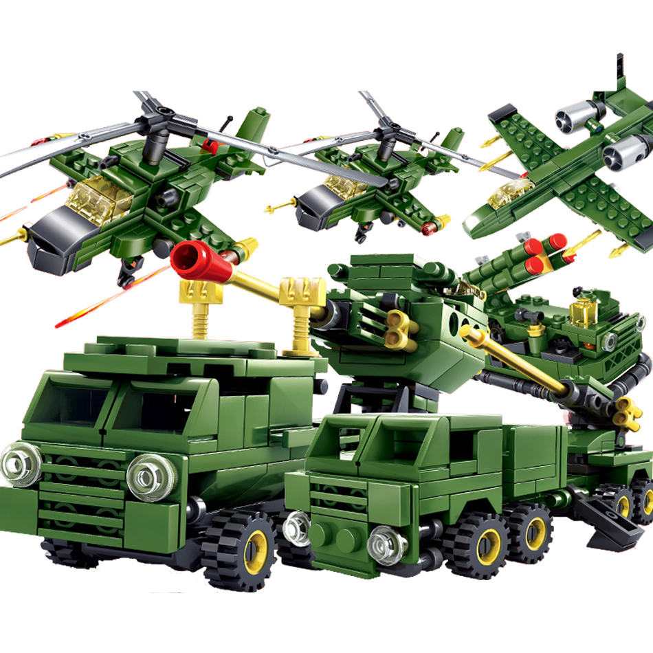 Military Army 6pcs World War 2 Weapon Tank Helicopter Building Blocks set DIY Bricks Com ...