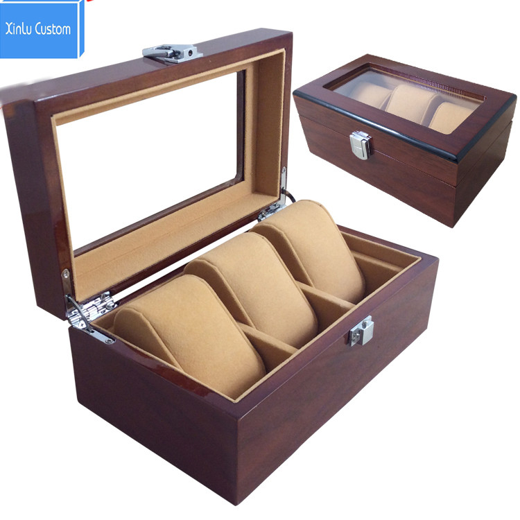 3 Grids Wooden Watch Display Box Jewelry Storage Organizer Red Case Collections Holder Watch Boxes Custom Personal logo WBG1002 canpol babies цифровой термометр с гибким наконечником цвет серый