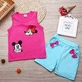 Новый 2017 Детская одежда малышей детей летние девочки одежда наборы мультфильм 2 шт. Минни mourse одежда устанавливает лета малышей набор