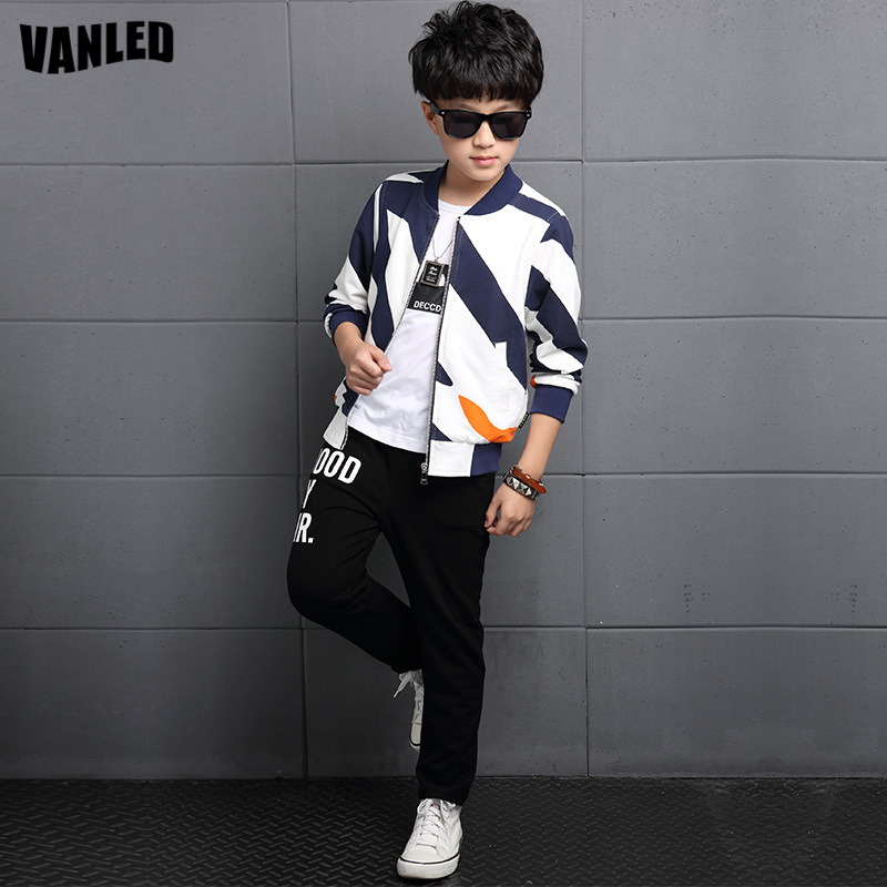 Top Quality Brand Striped Boys Clothes Sets Autumn Winter Teenagers Boys Jacket+Pants Long Sleeve kids Coats Soprt Suits Clothes