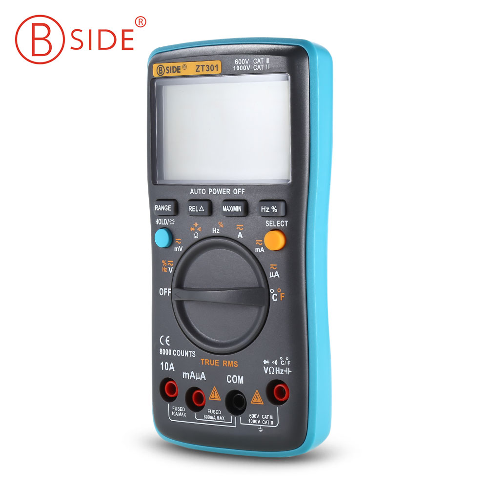 BSIDE ZT301 Handheld Digital Multimeter 8000 Counts True RMS Auto Range Multimeter LCD Display Electrical Tester Meter