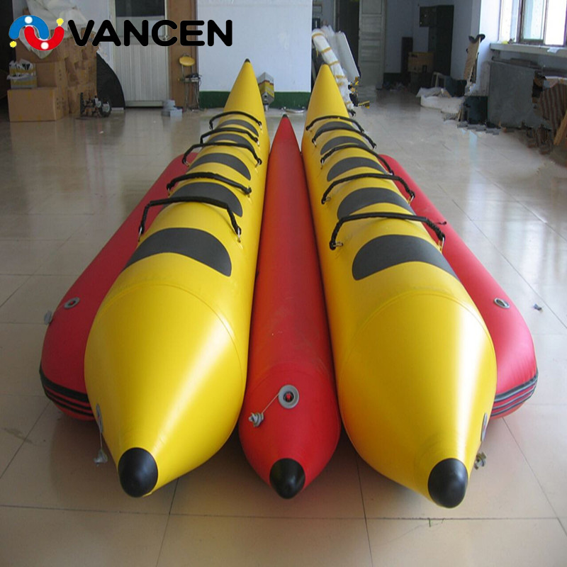 Summer Water Games Inflatable Banana Boat Flying Fish Boat Comercial Single Tube 6 Seaters Water Floating Toys For Adults