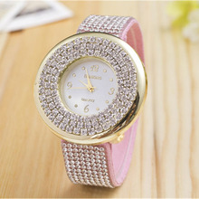 Fashion Womens Diamond Bracelet Quartz Watch Analog Geneva Wristwatch Rhinestone Lady Dress Leather Band Watches Montre Femme