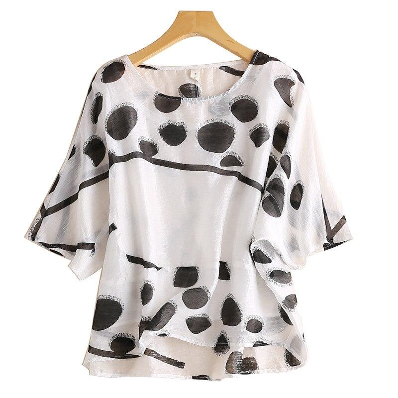 Été frais femmes à pois chemise femmes lin manches courtes haut lâche Vintage élégant mode tunique femmes