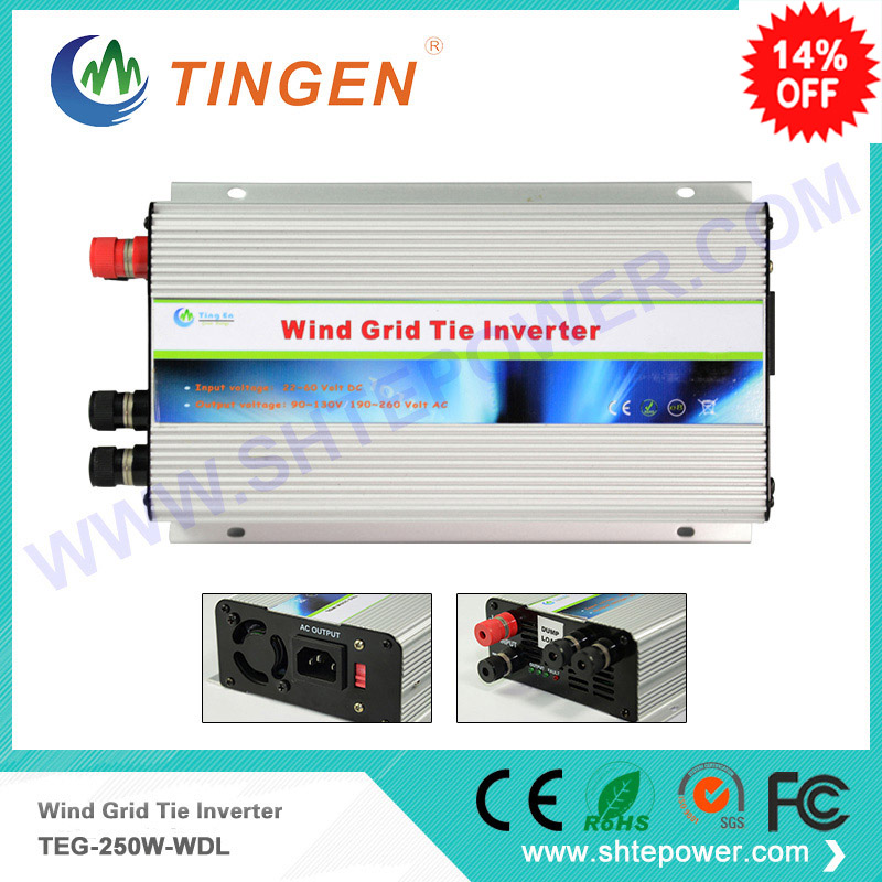 Wind on grid tie inverter 250w for wind turbine generator DC 10.8-30v input to ac output dump load resitor 300w solar grid on tie inverter dc 10 8 30v input to two voltage ac output 90 130v 190 260v choice