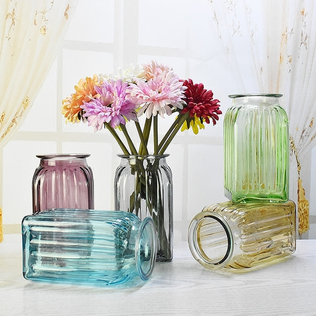 Beautiful New Creative Transparent Glass Vase Colorful Vase Ornaments European Garden  Small Fresh Flower Vase Bedroom Home
