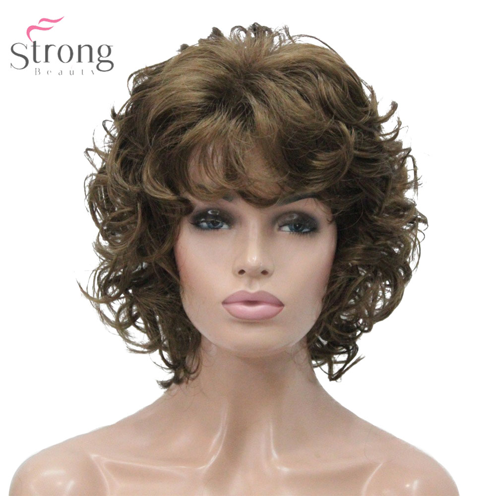 StrongBeauty Women's Synthetic Wig Natural Hair Blonde/Black Hairpiece Short Curly Wigs
