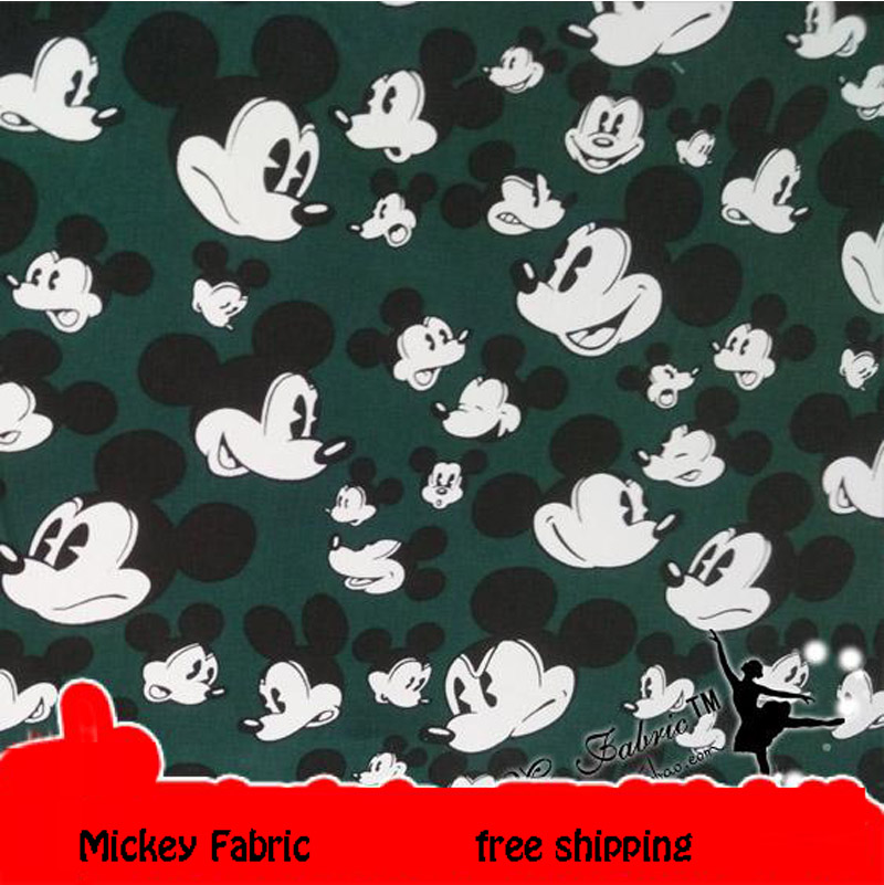 Newv 140cm Width Mickey Cotton Fabric 100%Cotton Fabric Dark Green Mickey Head Printed Fabric DIY Sewing Baby Clothing Quilting
