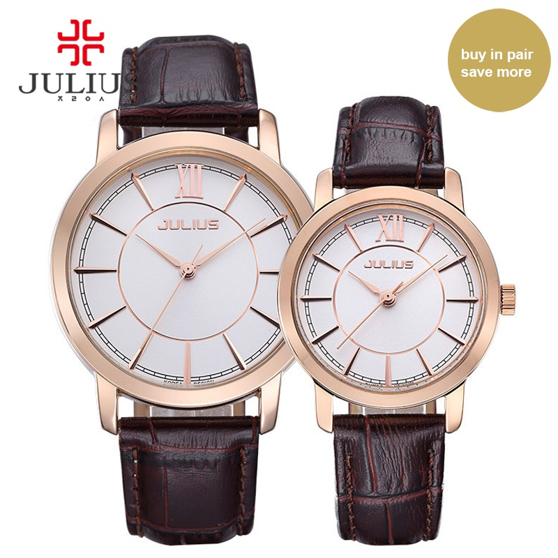 Julius Men Women Couple's Watches For Lovers Pair Watch Leather Casual Whatches High Quality Fashion Brand Clock Quartz JA-808 ja 460 julius women watch high quality quartz watch ladies clock oval women dress watches