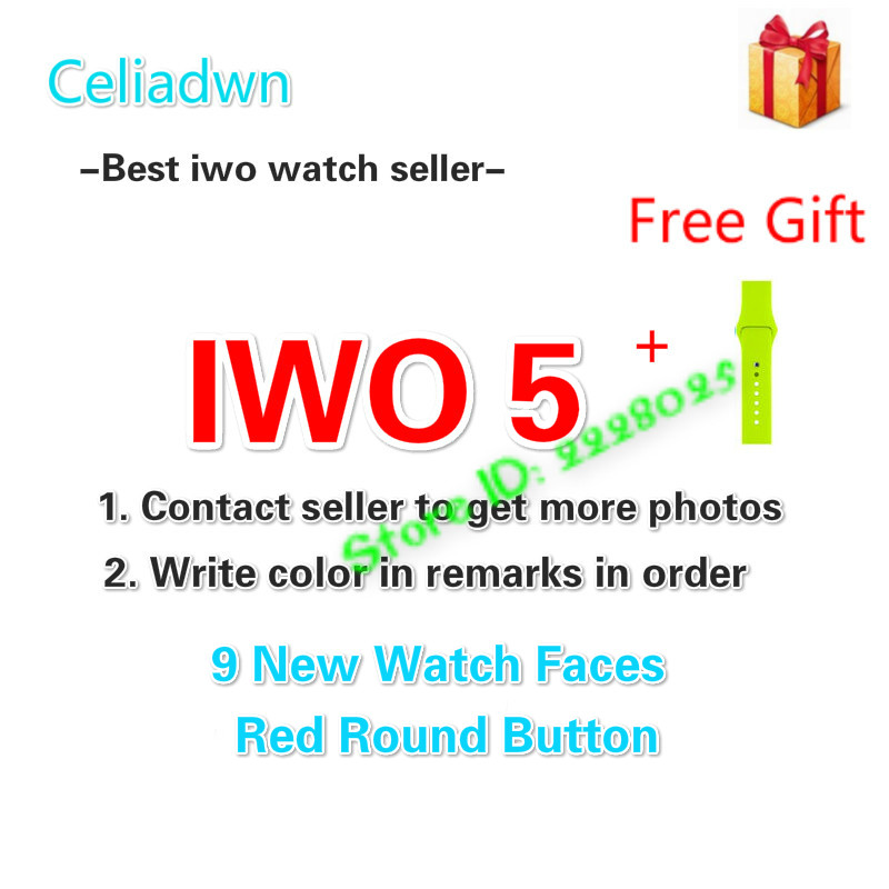 Smart Watch IWO 5 Heart Rate Smartwatch IWO 3 Upgrade 1:1 5th Watch Music Player With A Free Strap For iOS Android VS IWO 3 2 green for ipod nano3 3th generation 32gb fm video e book with film mp3 5 music player free ship a variety of language