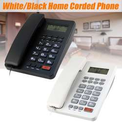 Plastic Desktop Corded Telephone Phone LCD Display Caller ID Volume Clock for House Home Call Office Company Hotel Random Color