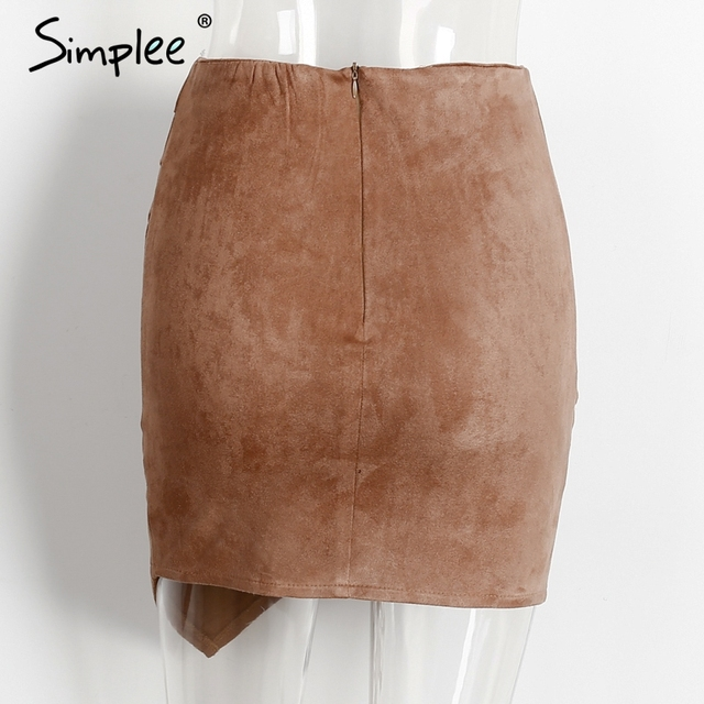 Simplee Suede bodycon pleated pencil skirts womens Vintage front split high waist skirt Sexy slim asymmetrical wrap short skirt