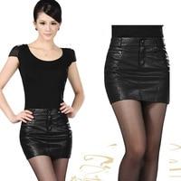 HanOrange 2018 Spring Summer High grade Ladies PU Sexy Fashion Slim Hip Skirt S/M/L/XL/XXL/XXXL Black