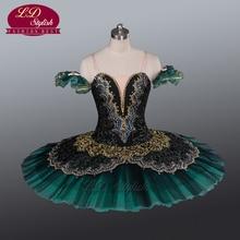 Adult Green Ballet Tutu Performance Stage Wear  Professional Skirt Classical Costumes Girls Pancake LD0014