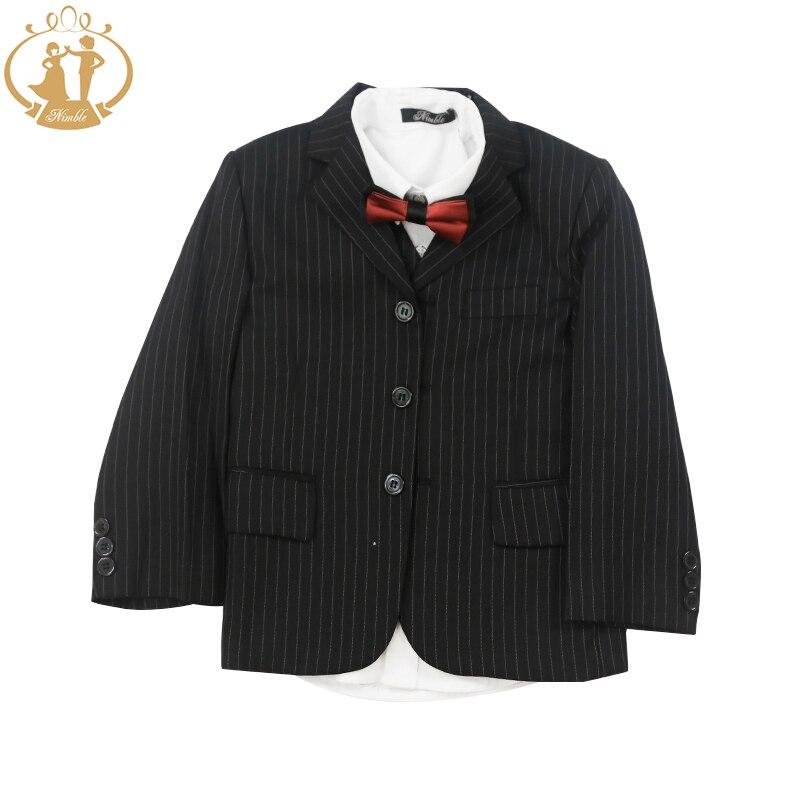 ФОТО Nimble Boys Formal Suit Three Button School Boy Blazer Wedding Suit Black Stripe Kids Formal Wear 2-13Y