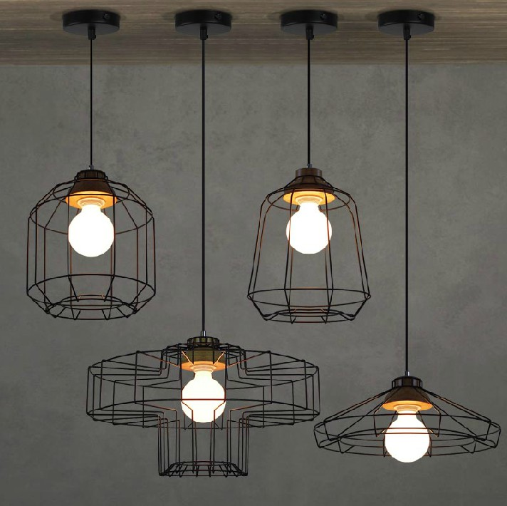 Vintage Nordic Industrial Pendant Lights Creative Personality Art Coffee Shop Pendant Lamps Iron Net Suspension Light loft nordic modern pendant lamps restaurant coffee shop creative iron english combination light
