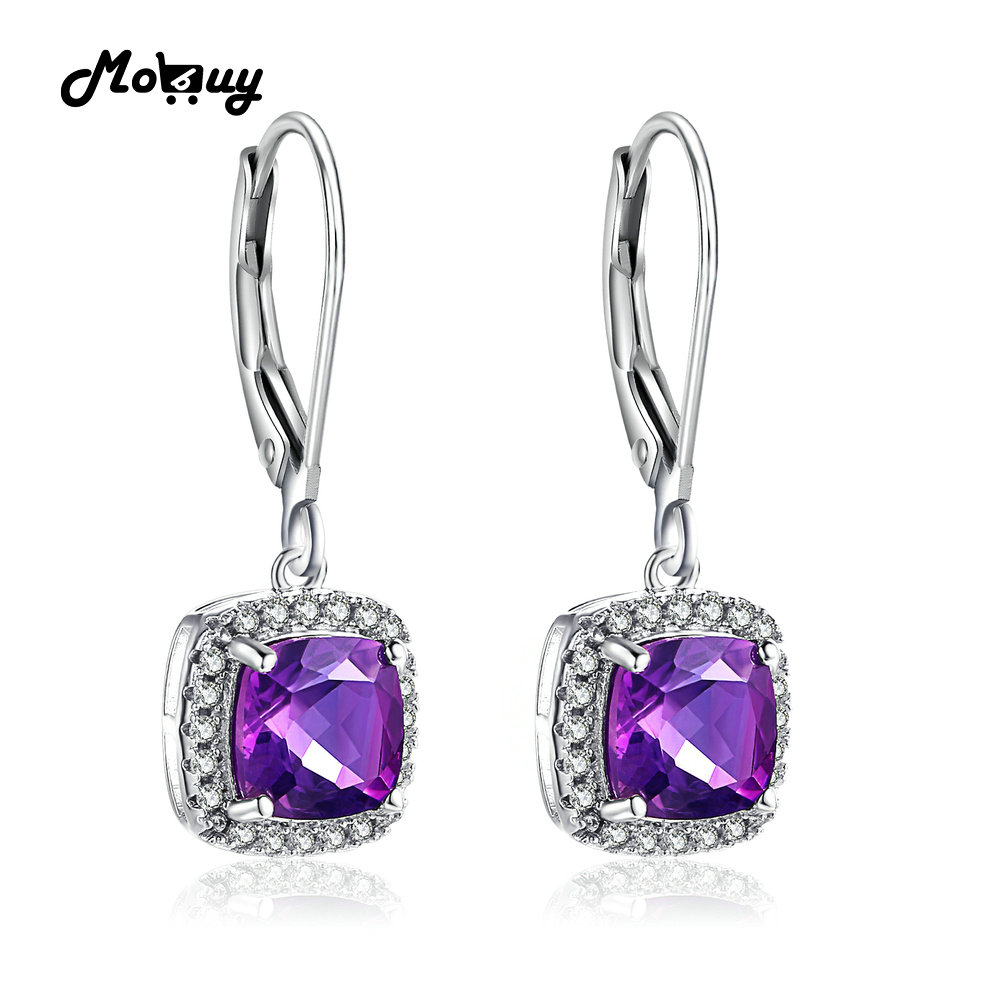 MoBuy MBEI001 Cushion Natrual Gemstone Amethyst Drop/Dangle Earring - Fine Jewelry - Photo 1