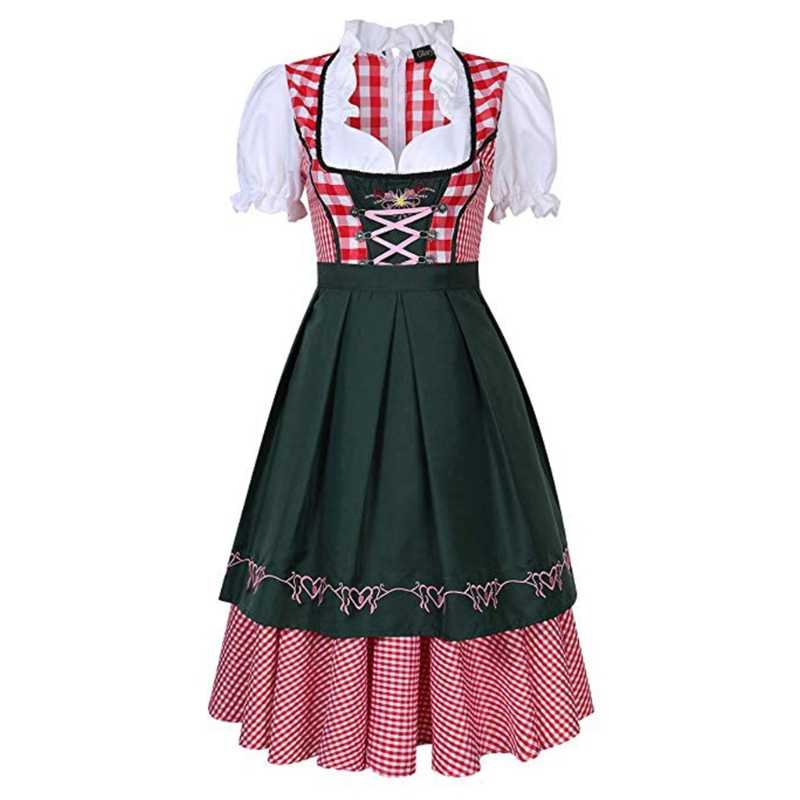 1 Set Womens Beer Costume Oktoberfest Halloween Party Maid Plaid Fancy Dress Plus Size W15