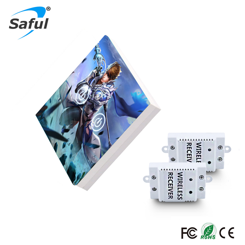 все цены на Saful 2 gang 2 Way Remote Control Touch Switch Painting DIY Customized Wireless Touch Switch онлайн