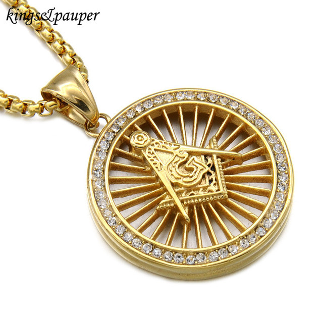 Titanium stainless steel iced out bling masonic free mason titanium stainless steel iced out bling masonic free mason freemasonry pendants necklaces for men hip hop aloadofball Gallery