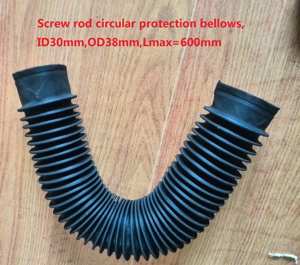Screw rod circular protection bellows ID30mm OD38mm Lmax 600mm