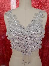 Silber handgefertigt 40*25 cm kristall strass applique nähen auf blume patches für kleid kragen diy manuelle zubehör