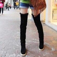 สุภาพสตรีรองเท้าผู้หญิงบู๊ทส์กว่าเข่าฝูงรองเท้าหนังZ Apatos mujerแฟชั่นถนนรองเท้าsh040023