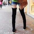 Sapatas das senhoras Mulheres botas sobre o joelho botas de Couro rebanho sapatos Zapatos mujer Moda de rua sapato sh040023