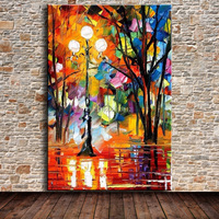 Knife Oil Painting On Canvas Palette Knife Street Lamp Landscape Modern Abstract Home Wall Art Decor Pictures For Living Room
