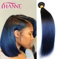 7А Ombre Синий Черный Weave 4 Пучки Бразильские Прямые Наращивание Волос 1B/синий 100% необработанных Человеческих Волос Remy Пучки 2 Тонн