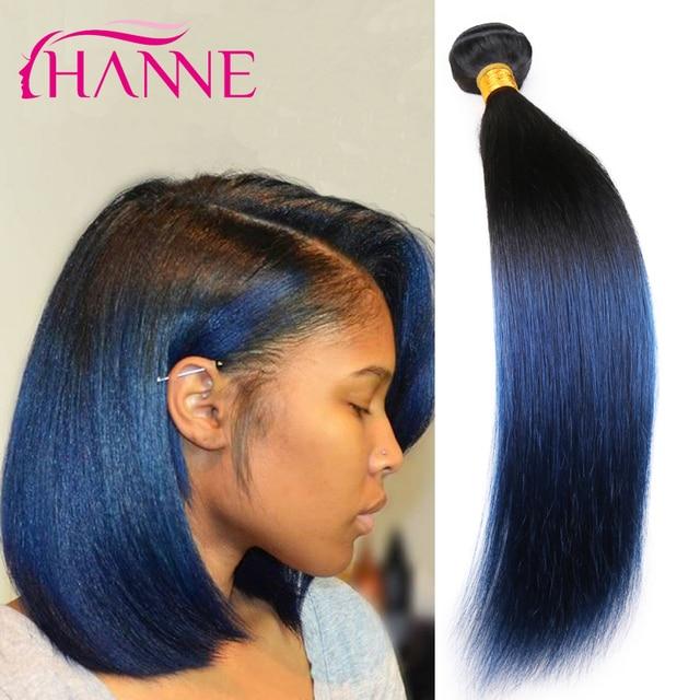7A Ombre Blue Black Weave 4 Bundles Brazilian Straight