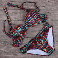 2017 New Bandeaue Floral Bikini Swimwear Womens Vintage Retro Push Up Striped Tribal Wave Beach Bathing