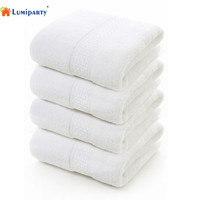 LumiParty White Cotton Bath Towels,White Beach Swimming Towel,Ultra Soft and Absorbent Bathroom Hotel Spa Washcloth,Pack of 4 30