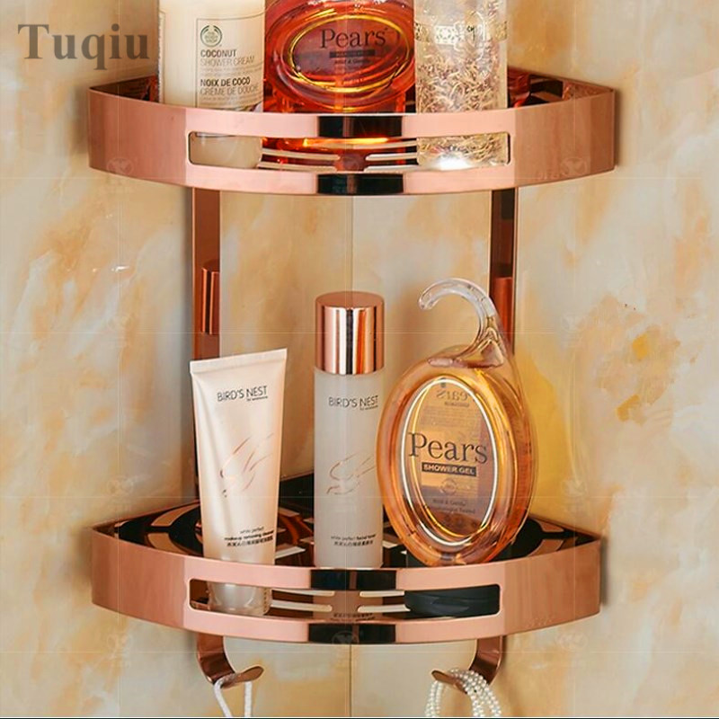 Free Shipping Rose Gold Stainless Steel Bathroom Soap Dish Bath Shower Shelf Bath Shampoo Holder Basket Holder Corner shelf цена