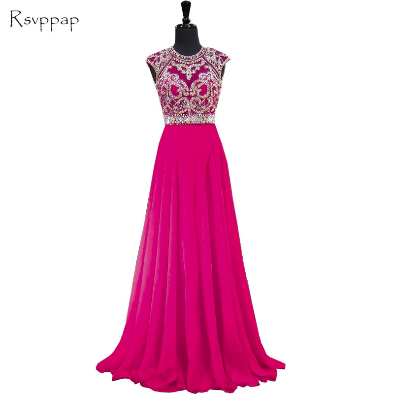 Long Sparkly   Prom     Dresses   2019 Stunning Scoop Sleeveless Beaded Crystals Backless African Hot Pink Chiffon Backless   Prom     Dress