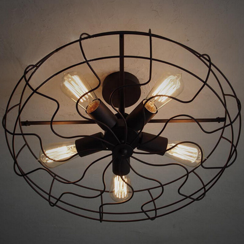 Vintage Industrial Fan Ceiling Lights American Country Kitchen Loft ...