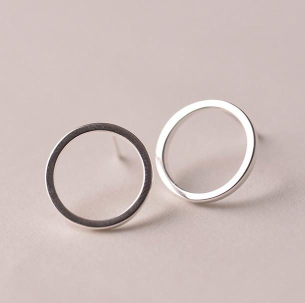 New 925 Sterling Silver Earrings Simple Circles Stud Earrings For Women Sterling Silver Jewelry Pendientes Mujer Brincos VES6007