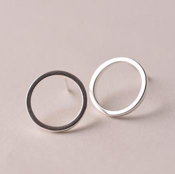 New 925 Sterling Silver Earrings Simple Circles Stud Earrings For Women Sterling Silver Jewelry Pendientes Mujer Brincos VES6007