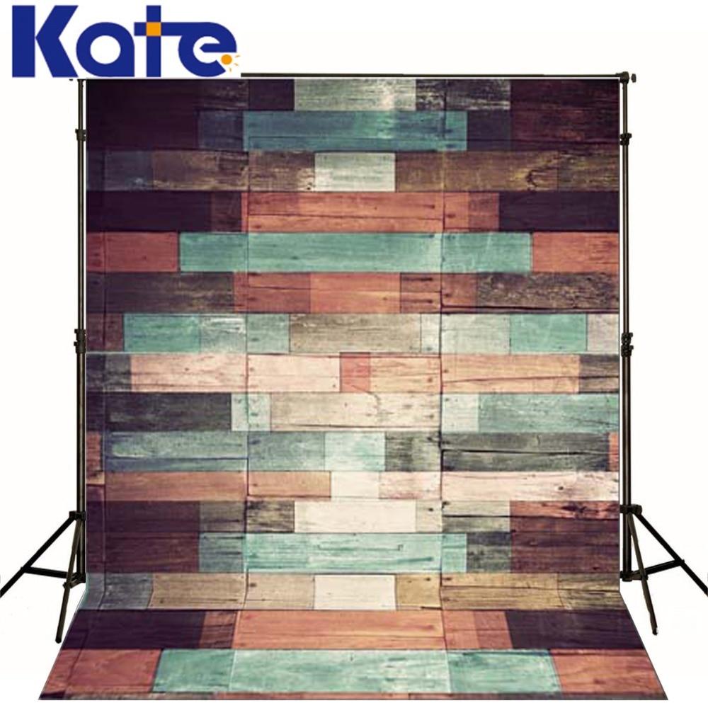 케이트 디지털 인쇄 사진 스튜디오 배경 신생아 아동 사진 배경을위한 레트로 다채로운 나무 벽