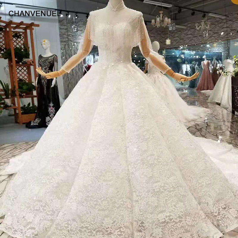 LSS215 Tassel Wedding Dresses With Long Train High Neck