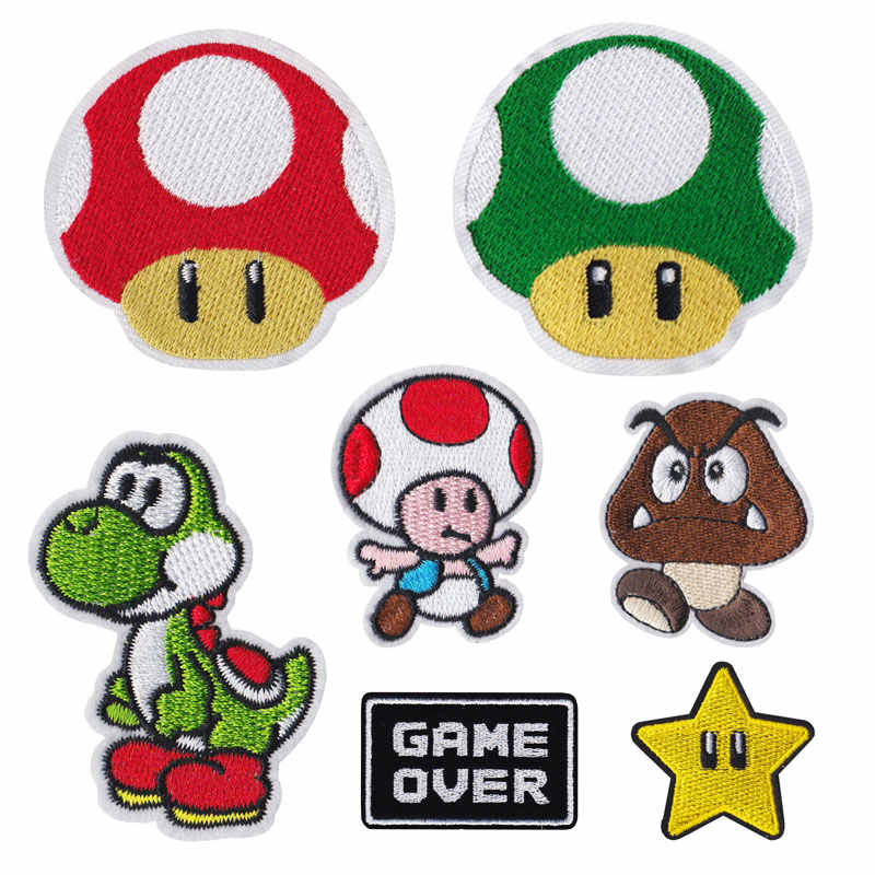 Cartoon Game Super mario Embroidered Clothes Patch Iron Patches For Clothing Diy kids Badges Stickers Appliques wholesale