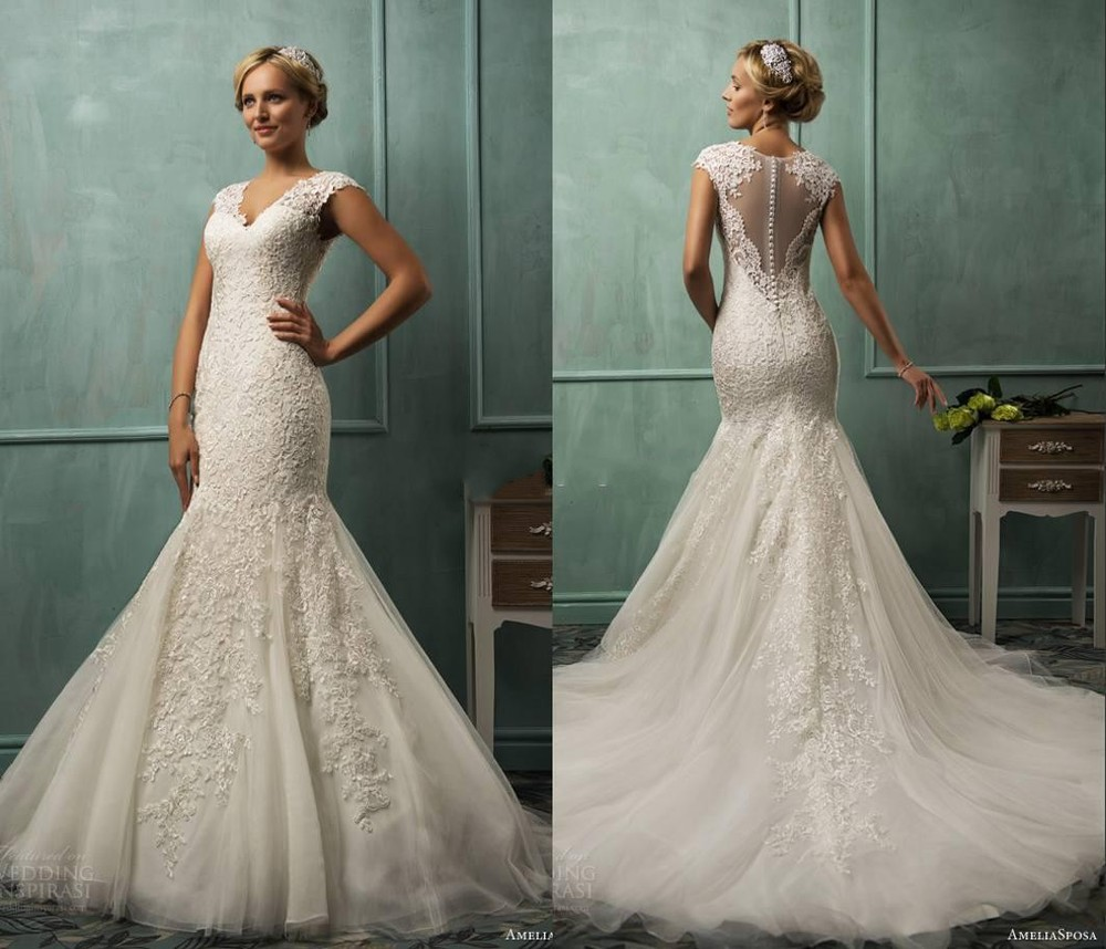 Popular lace fit and flare wedding dress buy cheap lace for Cheap wedding dresses bay area