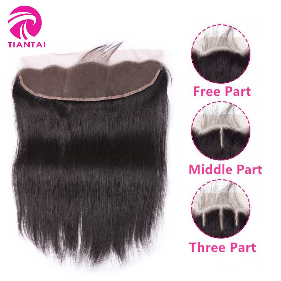 TIANTAI Closure Remy-Hair Lace-Frontal Straight Brazilian To Ear For Woman Nature-Color