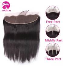 Бразильские прямые кружева лобовое закрытие 13*4 уха в ухо бесплатно/средний/три части закрытие природа цветные волосы Реми для женщин TIANTAI