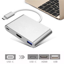 Feniores 2019 New Type C USB 3.1 to USB-C 4K HDMI USB3.0 Adapter 3 in 1 Hub For Apple Macbook Hot Sales A20