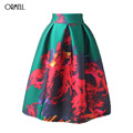 ORMELL Elegant Print Floral Women Skirt Long Summer Style Beach Mid Skirt Vintage Polyester Loose Flare Skirts Zipper New